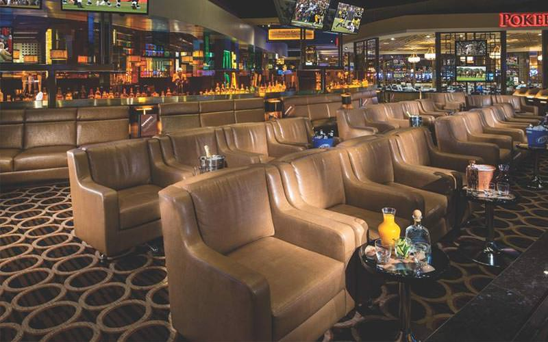 The sports book and bar at Caesars Palace