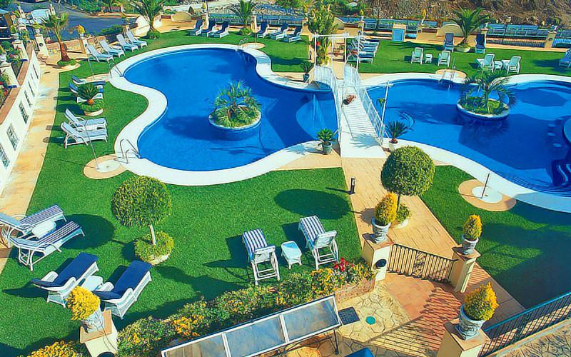 An outdoor pool and greenery, surrounded by sun loungers