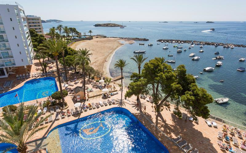 The coast of Ibiza and the Sirenis Club La Goleta exterior