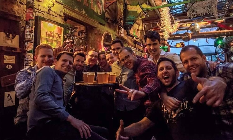 A group of lads in Szimpla Kert, posing for the camera