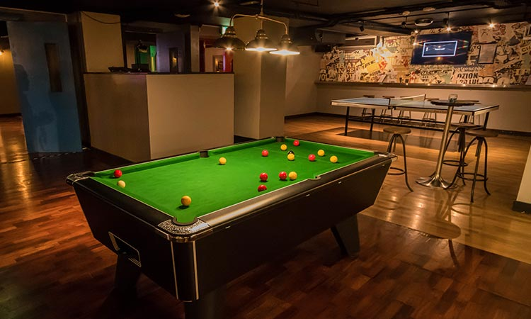 A pool table at Buskers on the Ball