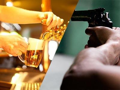 Split image of a pint being poured and a man holding a gun aiming to shoot