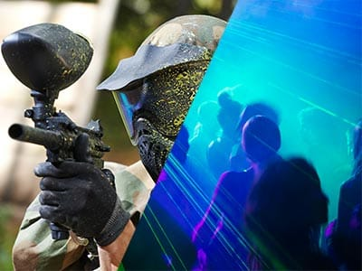 Split image of a man holding a paintball gun wearing a helmet covered in paint and people in nightclub with blue strobe lights