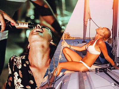 A man having a drink poured down his throat and a girl on a yacht