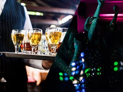 Split image of a waiter holding a tray of drinks and girls dancing in a nightclub