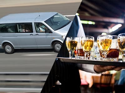 Split image of a silver van driving on a road and a waiter carrying a tray of alcoholic drinks