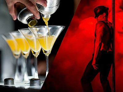 Split image of four yellow cocktails lined up on a bar, and a semi-naked man dancing around a pole