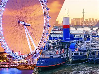 Split image of the London Eye at night illuminated and Tattershall Castle boat on the Thames