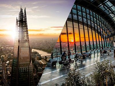 A split image of the top of The Shard at dusk, and people having a drink and watching the sunset in Sky Pod bar