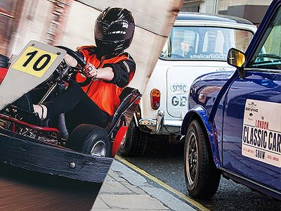 Slit image of a  man driving a go kart and a blue and white mini cooper