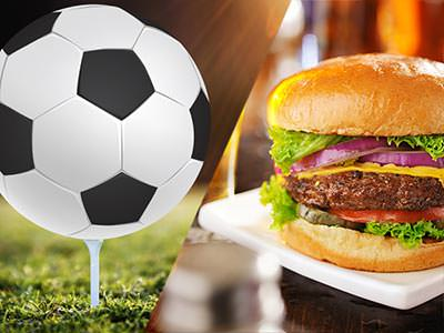 Split image of a black and white football on a golf tee and a cheesburger on a white plate