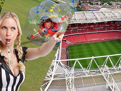 Split image of a blonde woman blowing a whistle and in a ref top with a man in a bubble in the background, and a birds eye view of Emirates Stadium