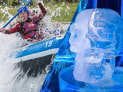 Split image, featuring a close up of a man white water rafting, and an ice skull sculpture at ICEBAR, London