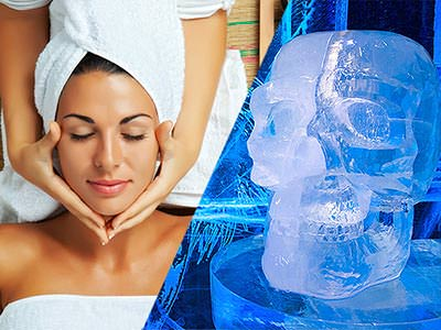 Split image of a woman receiving a head massage and a skull sculpture from the ICEBAR, London