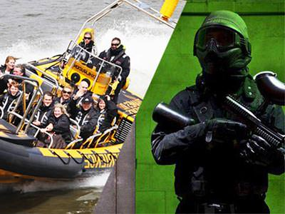 Split image, one of some people on a speedboat and one of a man in overalls and helmet carrying a gun
