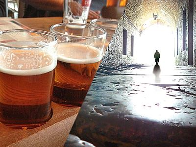 Split image of two pints of real ale and a silhouette of a man in a dark alleyway