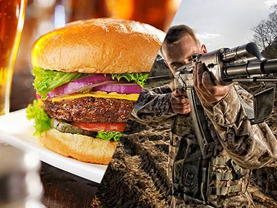 Split image of a cheeseburger on a white plate and a man holding a rifle and pointing ahead in camouflage gear