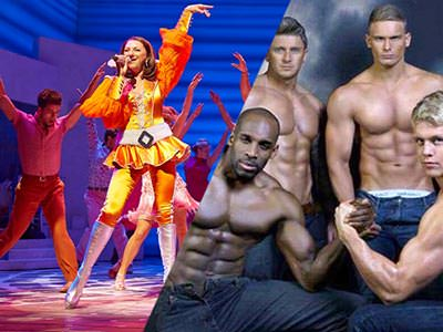 Image of Mama Mia the musical and the guys from Adonis Cabaret with their tops off