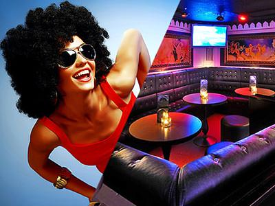 A split image, one of a woman in a retro wig and sunglasses, and one of the interiors of a plush club
