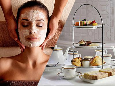 A split image, of a girl having a massage with a face mask on, and one of an afternoon tea