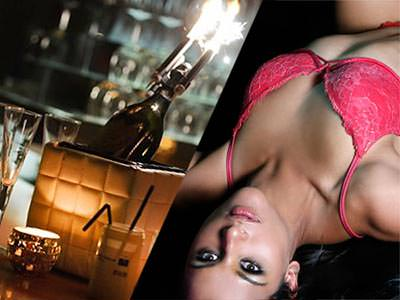 Split image, one of a champagne bottle with sparklers and the other of a reclining girl in pink lingerie