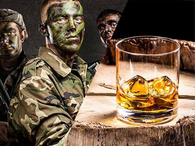 Split image of three men in camouflage clothing anf face paint, and a glass of whiskey with ice