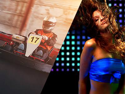 Split image of a man racing a kart on an indoor track, and a woman dancing in a club