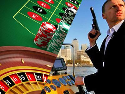 Split image of a roulette wheel with poker chips in the back, and a lookalike of Daniel Craig holding a gun