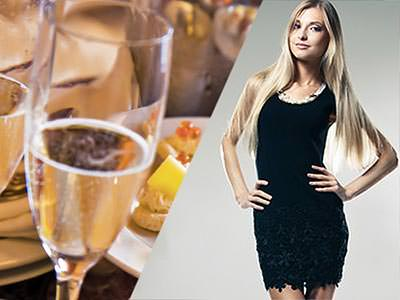 Champagnee glass and a women in a black dress with her hands on her hips