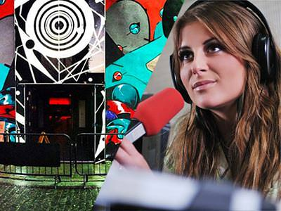 Split image of entrance to fusion nightclub with black and white circles above the black door and a women with headphones in singing into a red microphone