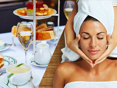 Split image of a table including tea, champagnee and tray of cakes and sandwiches and a women with a towel on her head getting a massage on her face