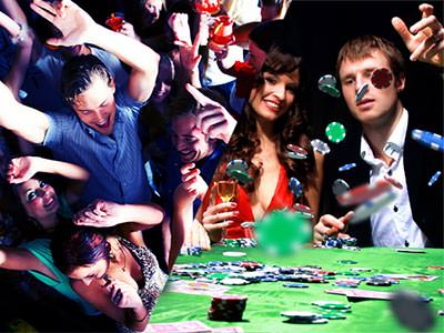 Split image of men and women dancing, and a man throwing chips on a poker table whilst sat next to a woman