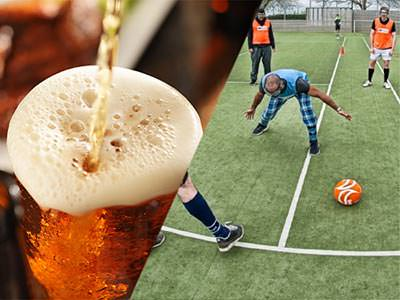 Split image of a beer being poured, and a man wearing goggles and attempting to play footy with people in the background