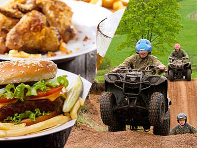 Split image of a burger and chips on a plate, and a man driving a quad bike with two people in the background also on quad bikes