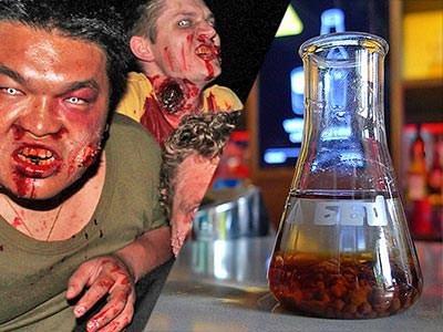 Split image of men dressed up as zombies and a test tube with brown liquid at the bottom