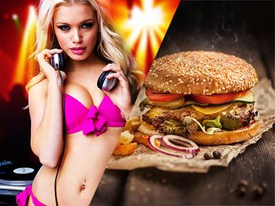 A split image of a woman in a pink bikini with headphones around her neck, and a steaming burger on a wooden board