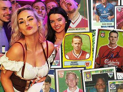 Split image of a woman dressed in a Bavarian beer maid outfit and surrounded by a group of men, and old football stickers overlapping each other