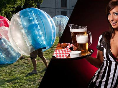 A split image of people playing bubble football, and a sexy referee holding a tray of beer and breaded chicken