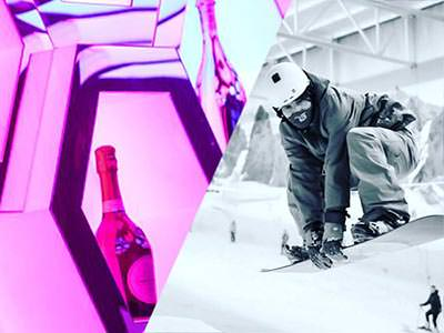 A split image of some champagne displayed in a huge cabinet and a man in the air whilst snowboarding