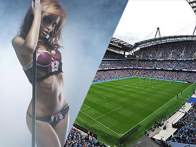 A split image of a woman in her underwear looking seductively at the camera, and a football stadium with a capacity crowd