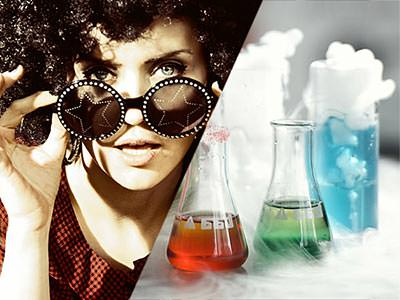 Split image of a woman holding circle sunglasses to her face and science beakers with coloured liquid in
