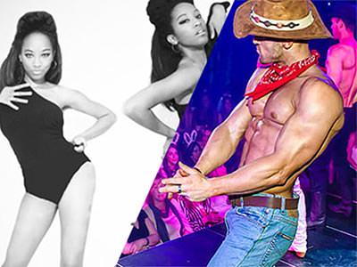 Split image of two women in leotards dancing, and a semi-naked man in jeans and a cowboy hat performing to a crowd