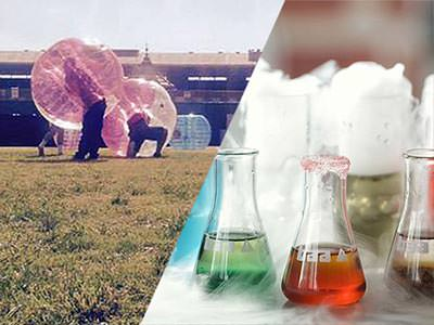 Split image of people in pink and blue zorbs on a pitch and science beakers with colourful liquid in, to a backdrop of smoke
