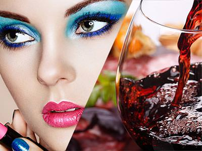 Split image of a close up on a woman with blue eye makeup and red wine being poured into a wine glass