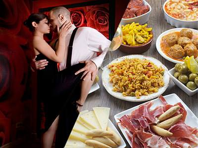 Split image of a man and woman salsa dancing with the woman stroking the man's face, and various tapas style dishes on a table