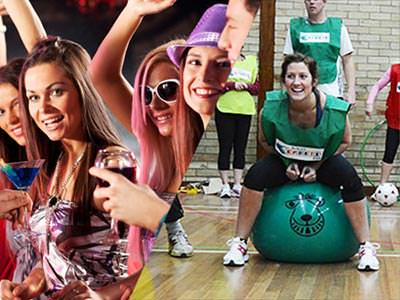 Split image of women dancing whilst holding cocktails and a woman racing on a green space bopper in an indoor hall