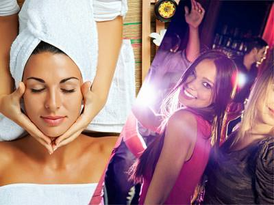 Split image of a woman with a white towel on her head receiving a head massage, and two women dancing in a club