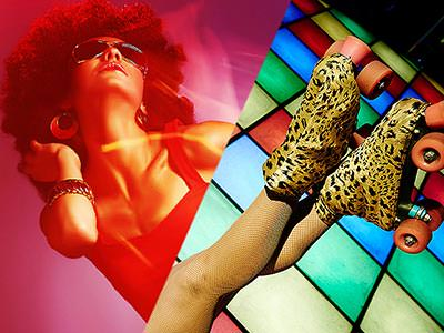 Split image of a woman in an afro and vest and a close up of a pair of feet in leopard print rollerskates