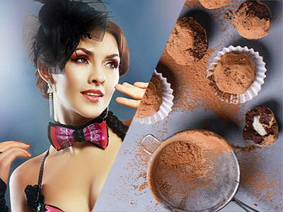 Split image of a woman in a fascinator and bowtie and chocolate truffles on a table covered in cocoa