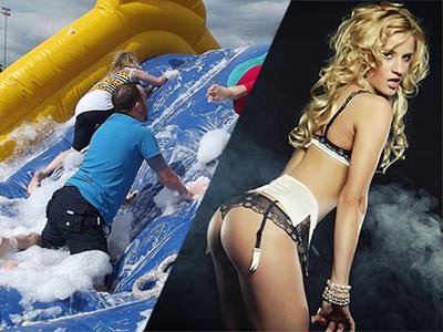 Split image of people climbing an inflatable slide covered in soap bubbles, and a woman bending over in her underwear